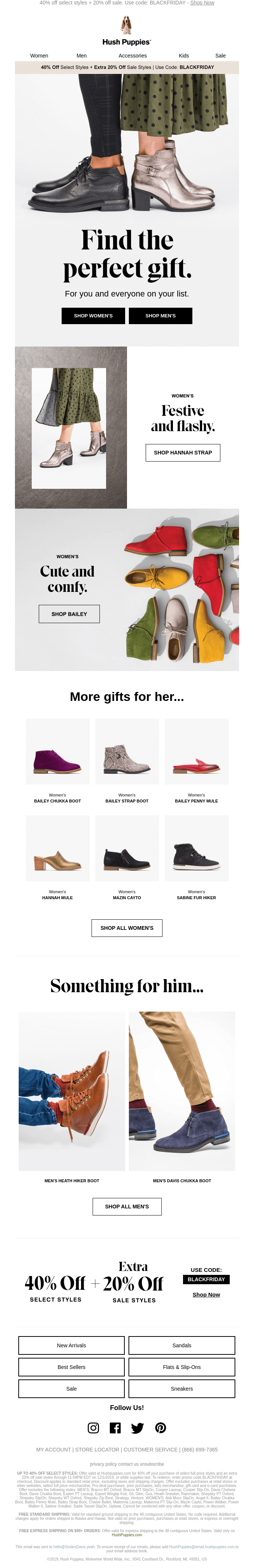 gift guide email from Hush Puppies