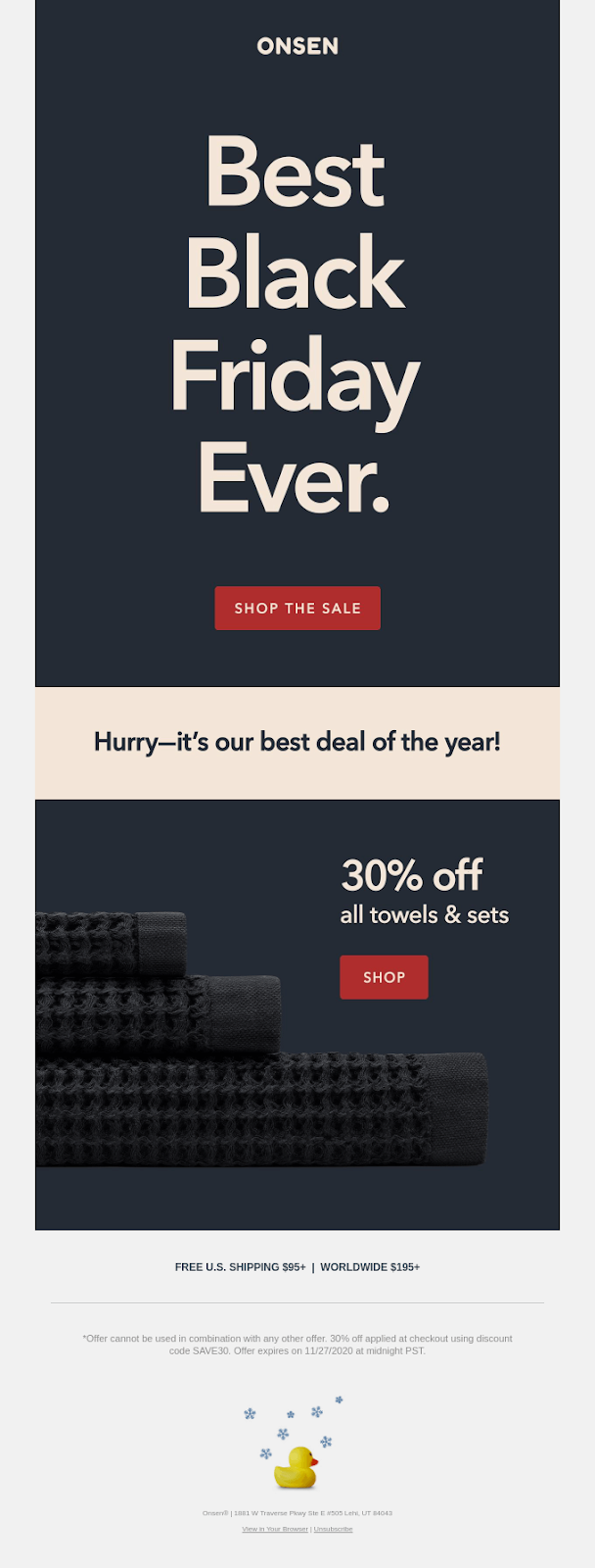 Black Friday email from Onsen