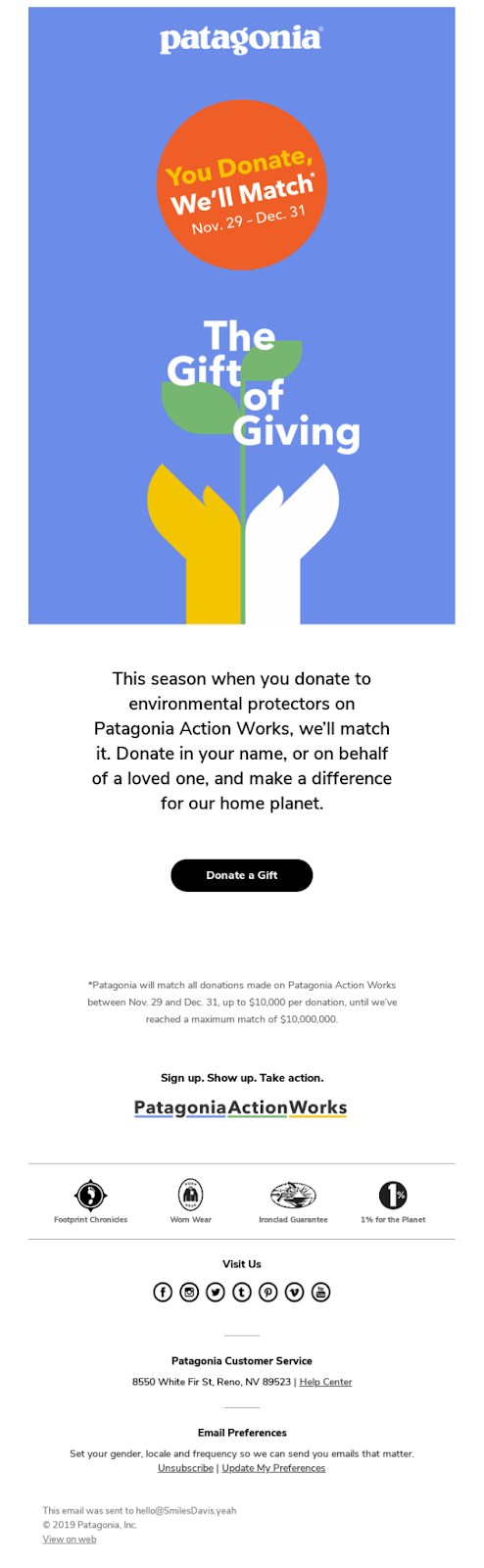 Giving campaign from Patagonia