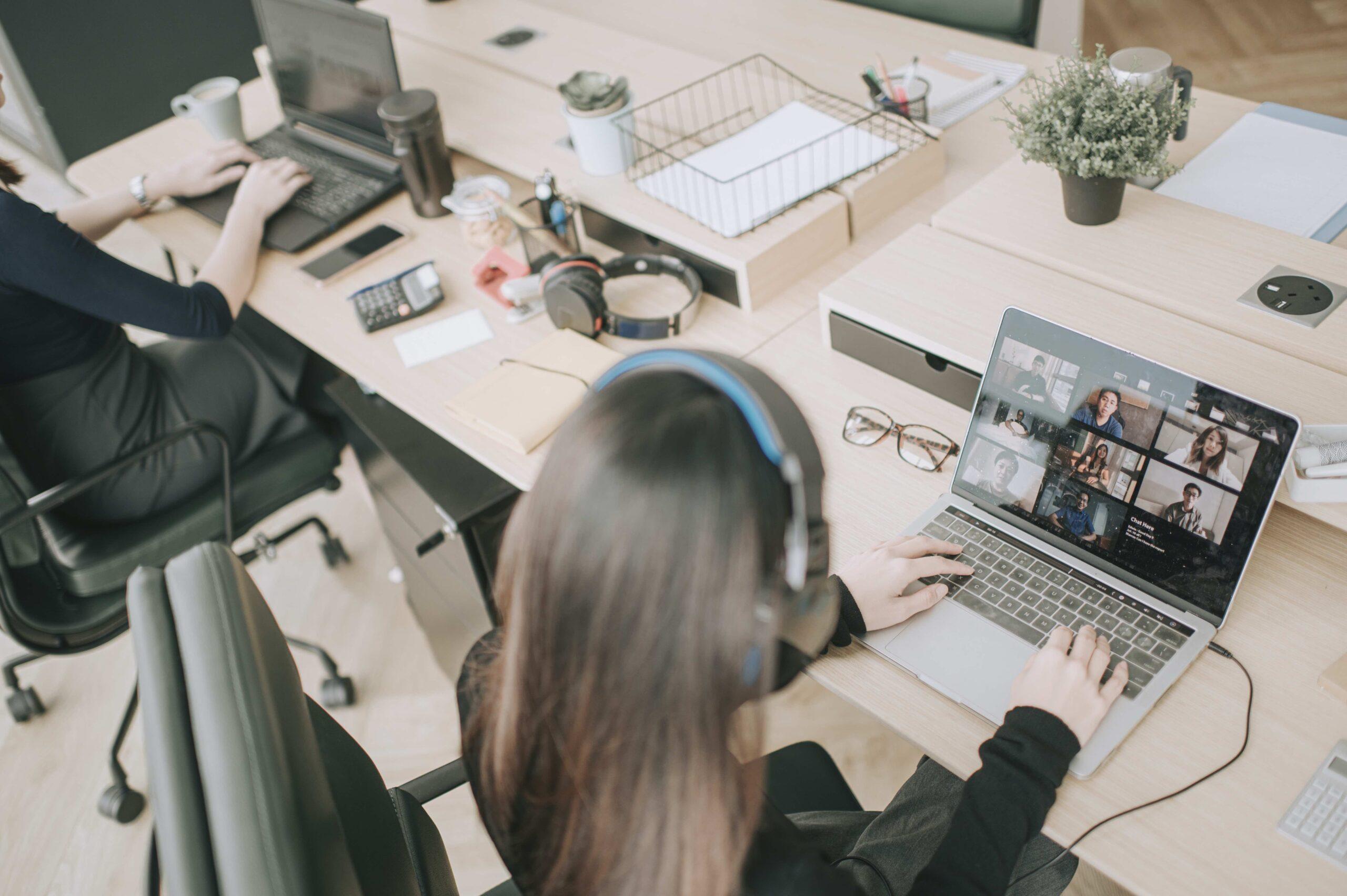Team working in open office