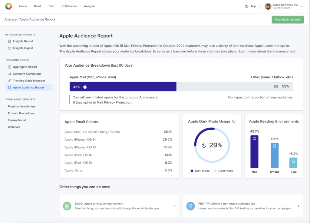 Apple Audience Report in Litmus Email Analytics