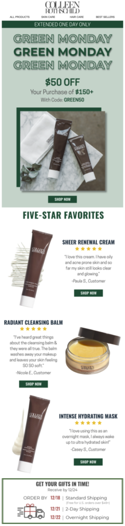 Colleen Rothschild Beauty five-star favorites Green Monday email