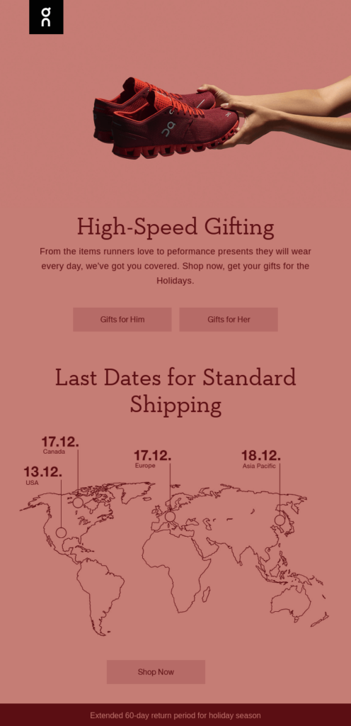 On Running high-speed gifting email