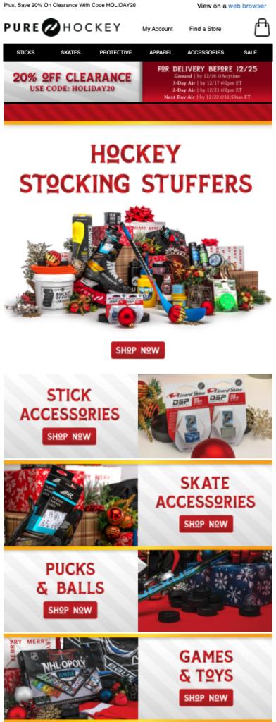 Pure Hockey stocking stuffers email