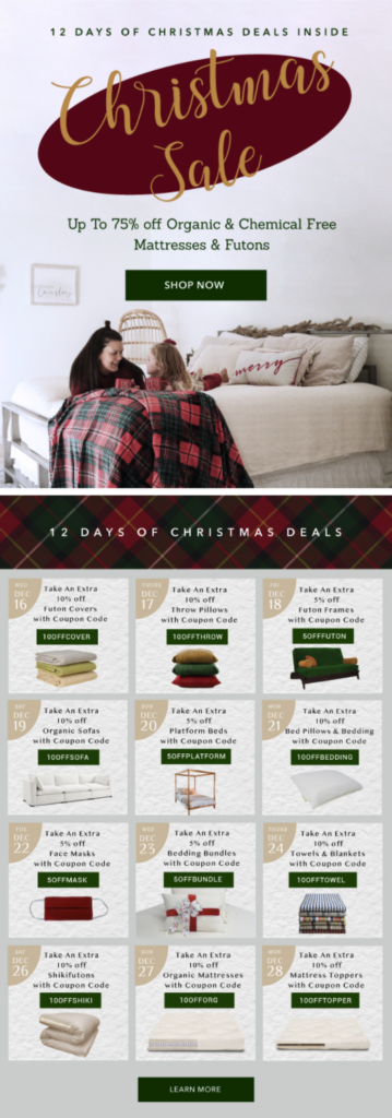 The Futon Shop 12 Days of Christmas Deals email