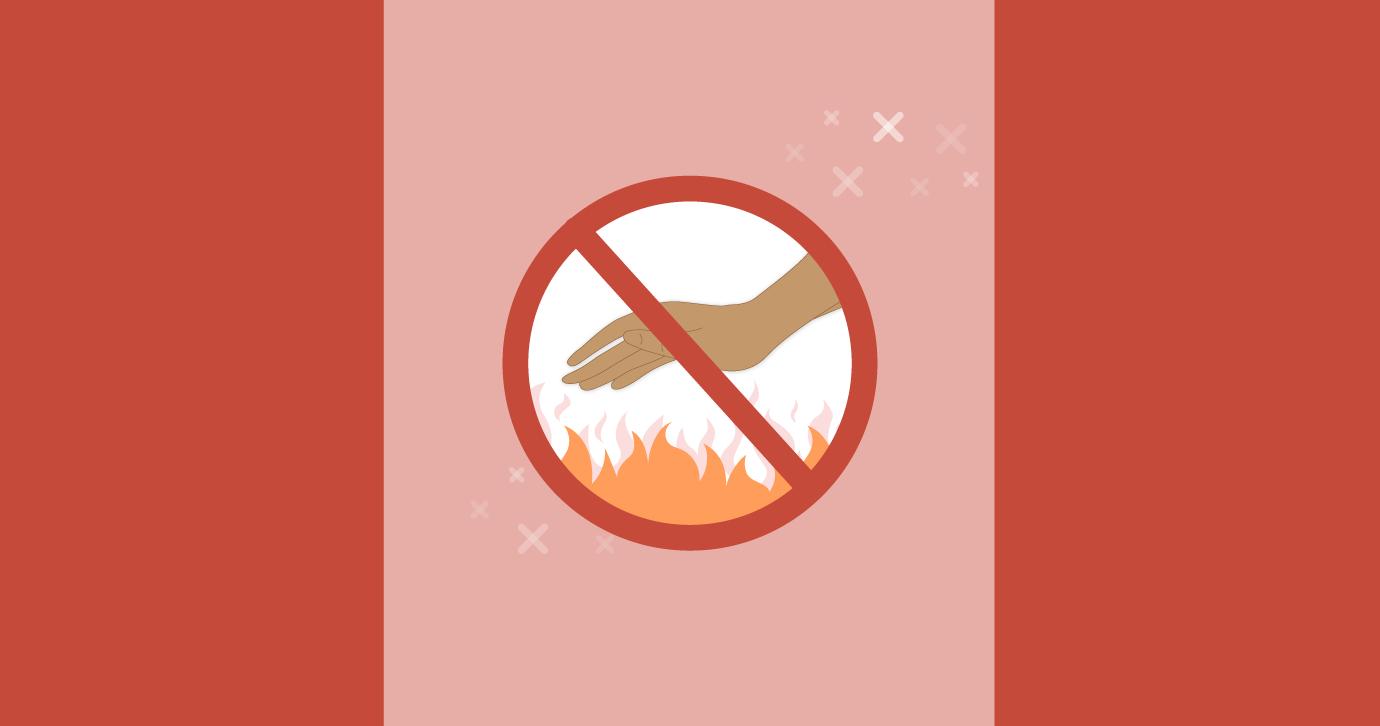hand getting burnt