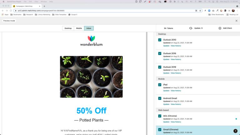 Screenshot of Mailchimp Inbox Previews